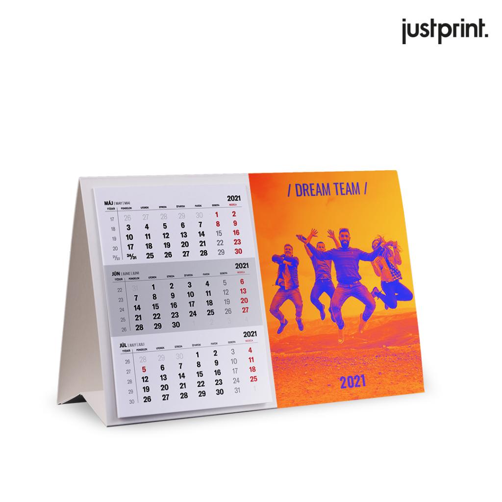 Stolový kalendár s lepeným kalendáriom (3-mesačný)