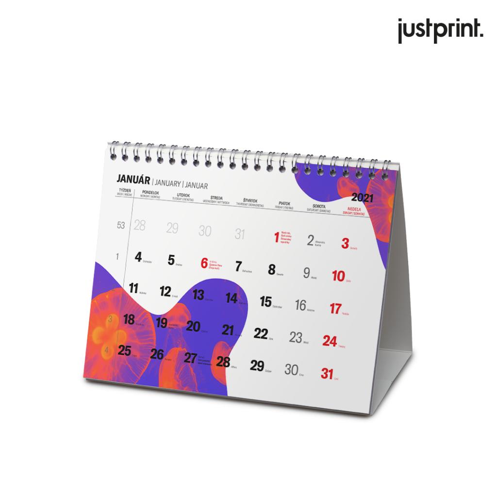 Stolový kalendár so špirálou (týždenné alebo mesačné rozloženie)