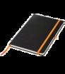 Zápisník A5 s tvrdými doskami a gumičkou - čierna väzba