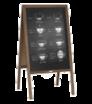Drevené reklamné áčko s kriedovou tabuľou, s potlačou